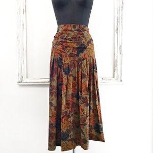 Vintage Asymmetric Yoke Pleated Floral Midi Skirt